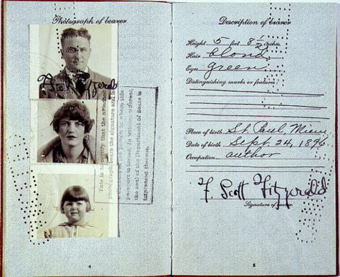 F. Scott Fitzgerald'ın bir başka pasaportu.