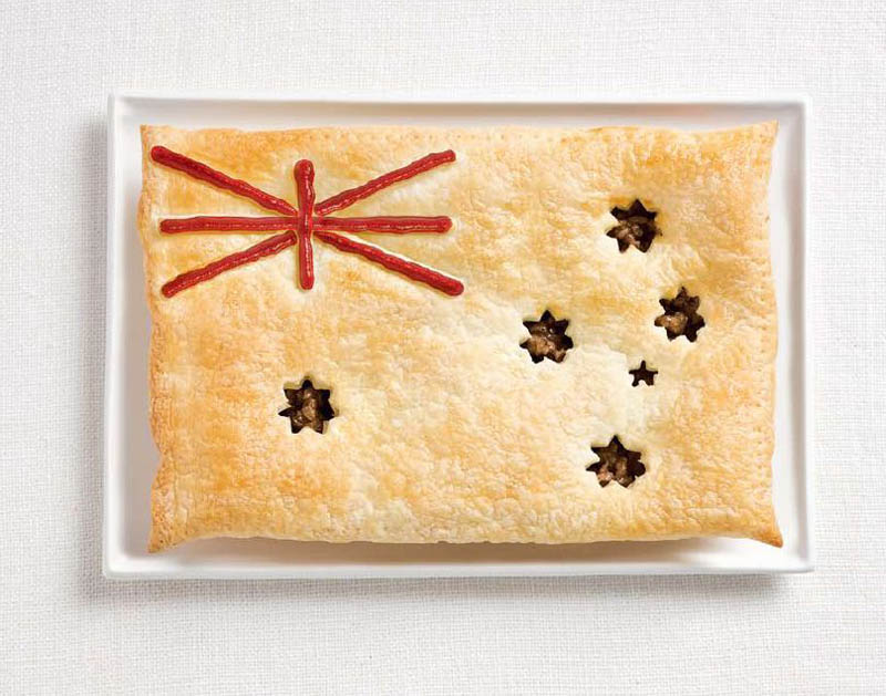 Avustralya; etli turta ve sos.