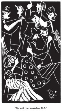 Flannery O'Connor'ın okul gazetesi için çizdiği karikatürlerden. Daha fazlası için resmin üstüne tıklayınız.
