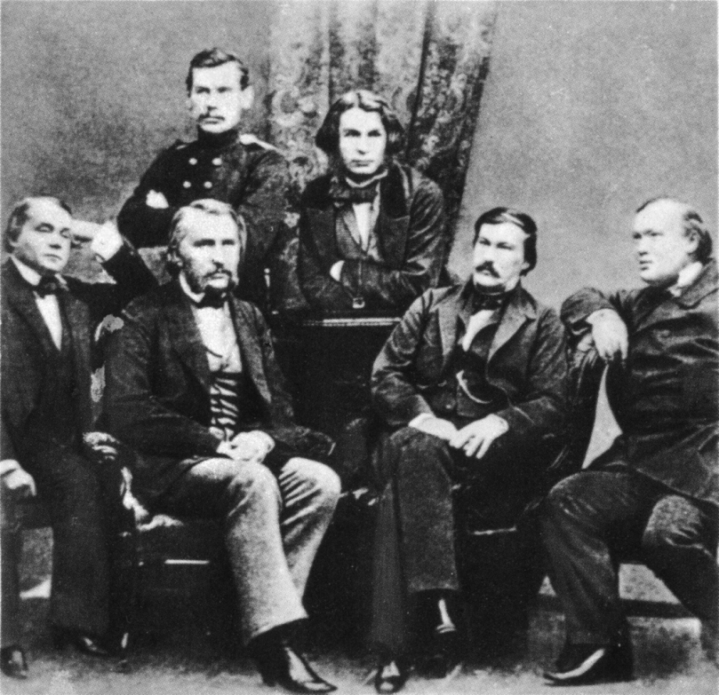 Sergey Levitsky's 1856 photo of Russia's literary establishment. Standing, Tolstoy is in uniform. Below him Turgenev is seated. Standing next to Tolstoy is Dmitry Grigorovich. To Turgenev's right Ivan Goncharov sits; to his left first Alexander Druzhinin, then Alexander Ostrovsky.